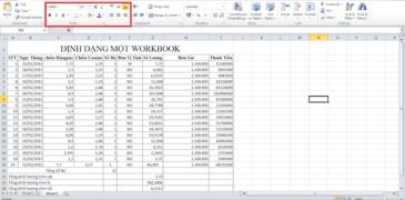 Định dạng một workbook