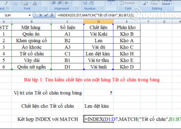 Công thức cho hàm INDEX với hàm MATCH