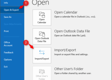 Nhấn vào File > Open & Export > Import/Export trong Outlook
