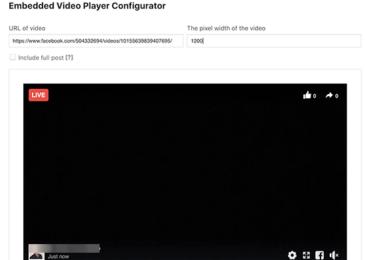 Trình tạo mã nhúng video trực tiếp trên Facebook