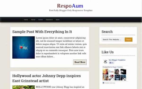 RespoAum Responsive Blogger Template