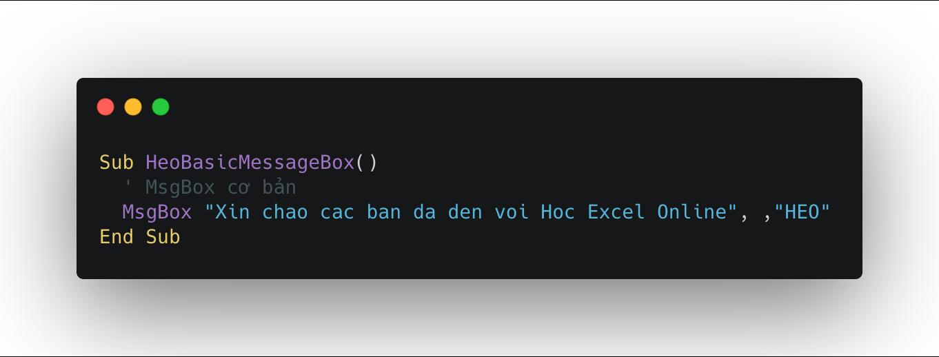 Sử dụng Msgbox trong Excel VBA với tiêu đề tự đặt