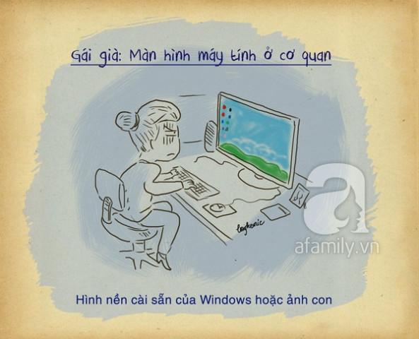 màn hình máy tính gái già