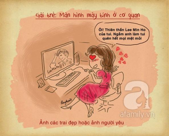 màn hình máy tính của  gái trẻ