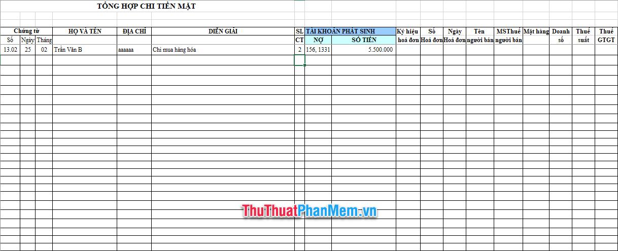 Demo file Excel quản lý thu chi nội bộ 2