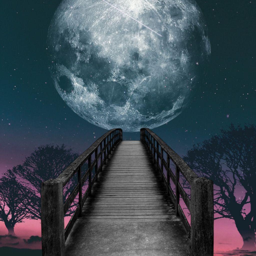 Hình ảnh background cây cầu đêm trăng