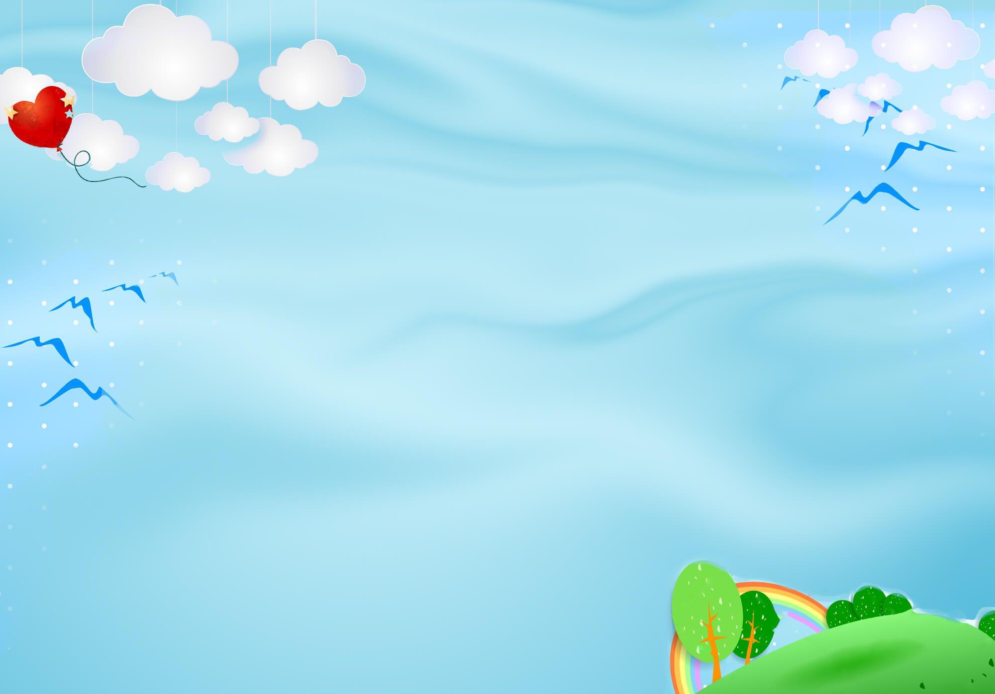 Hình ảnh background nền xanh có mây và đồi cỏ