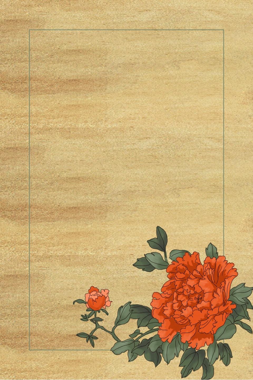 Hình ảnh background tờ giấy cũ hoa hải mẫu đơn
