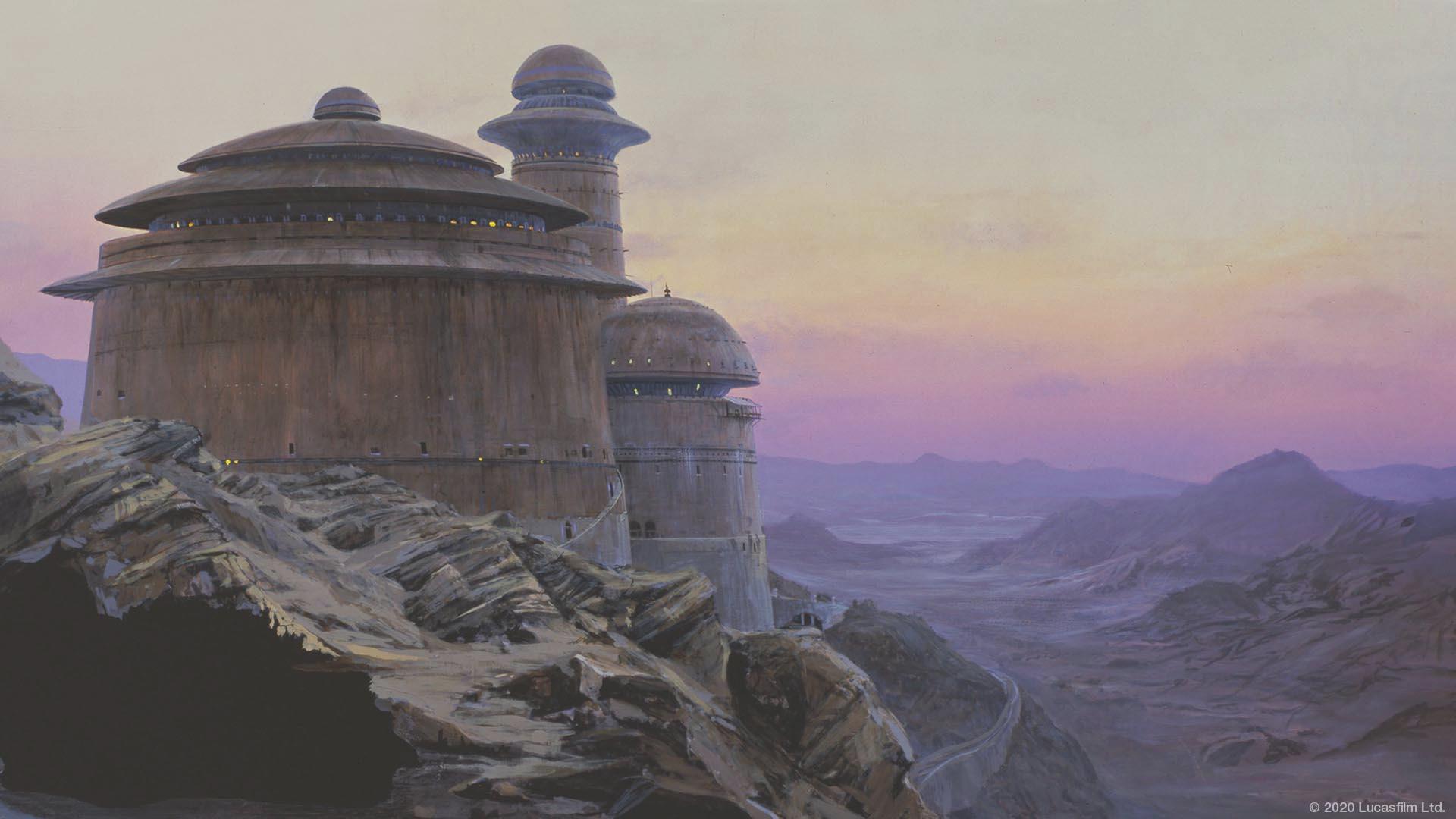 Hình ảnh background tòa nhà bên núi đá