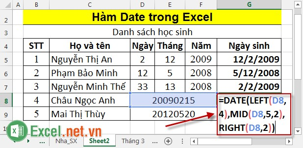 Hàm Date trong Excel 4