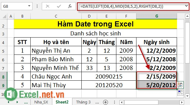 Hàm Date trong Excel 6
