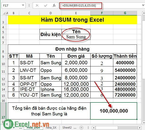 Hàm DSUM trong Excel 5