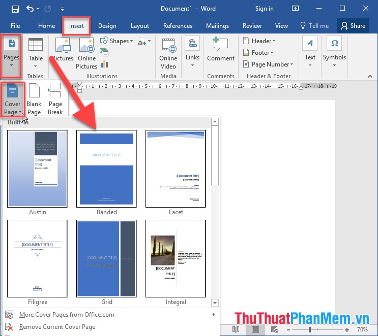 Vào thẻ Insert - Pages - Cover Page - lựa chọn mẫu khung viền cần tạo