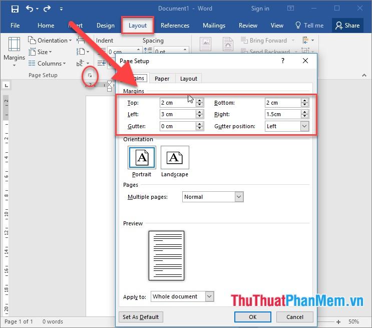 Căn chỉnh lại lề: vào thẻ Layout - Page Setup