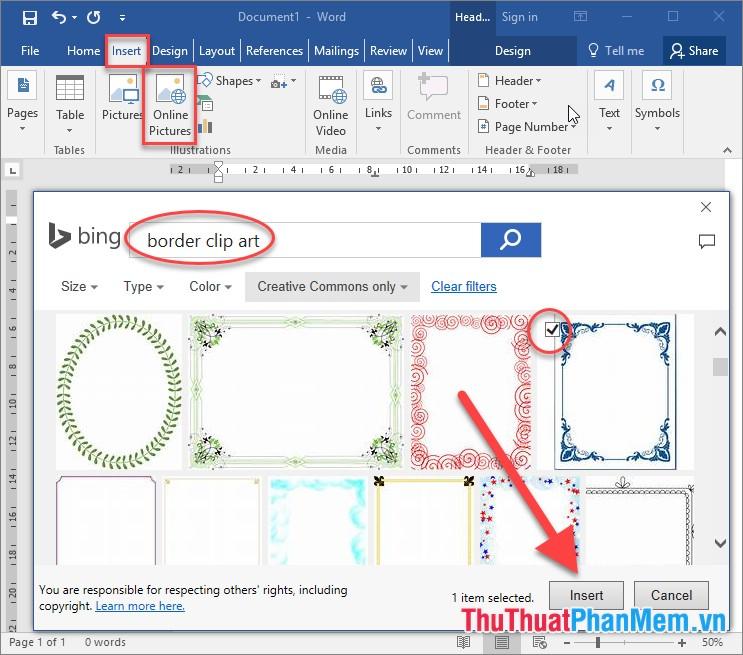 Vào thẻ Insert -> Online Pictures -> nhập từ khóa border clip art để tìm kiếm khung viền đẹp